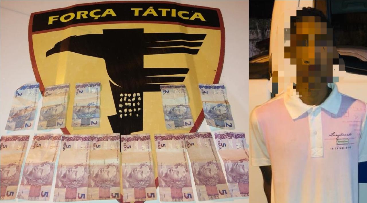 Foto: Divulgação/PM-TO - Com o suspeito, os policiais encontraram 23 pedras de crack, R$ 50,00 em espécie e um celular. Por meio do teste do bafômetro, também ficou comprovada a embriaguez do indivíduo.