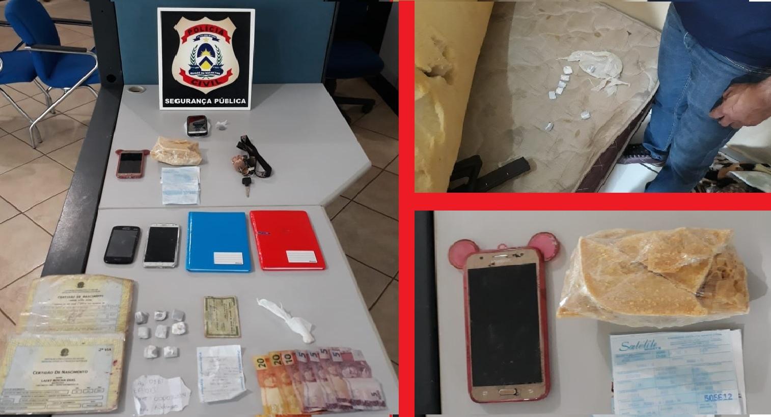 Foto: Divulgação/Polícia Civil do Tocantins - Crack, celulares, cadernos com anotações da movimentação do tráfico, dinheiro em espécie e comprovantes bancários apreendidos durante a ação que resultou na prisão 8 pessoas em Guaraí.