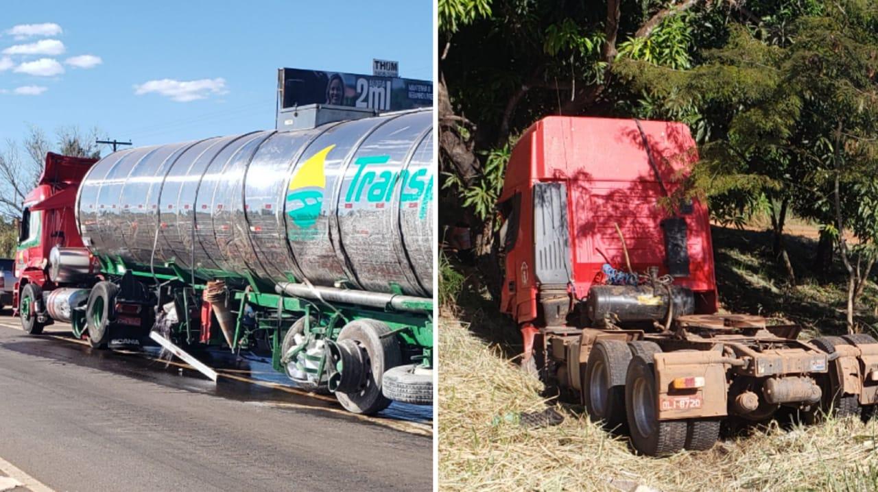 Carretas colidem lateralmente em trecho da BR-153, próximo à entrada Sul da cidade de Guaraí