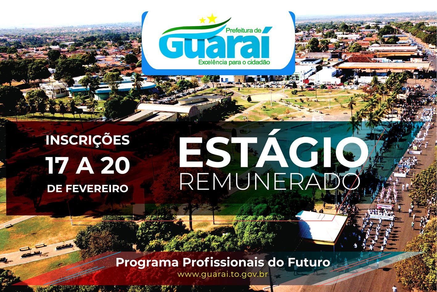 Edital oferta 76 vagas de estágio remunerado (cadastro de reserva) para estudantes de Guaraí