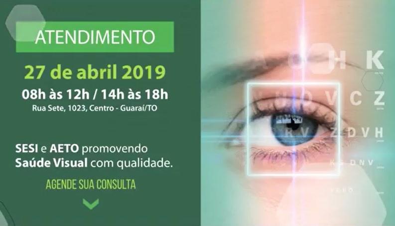 Unidade móvel do SESI realizará consultas e exames oftalmológicos em Guaraí no dia 27/04