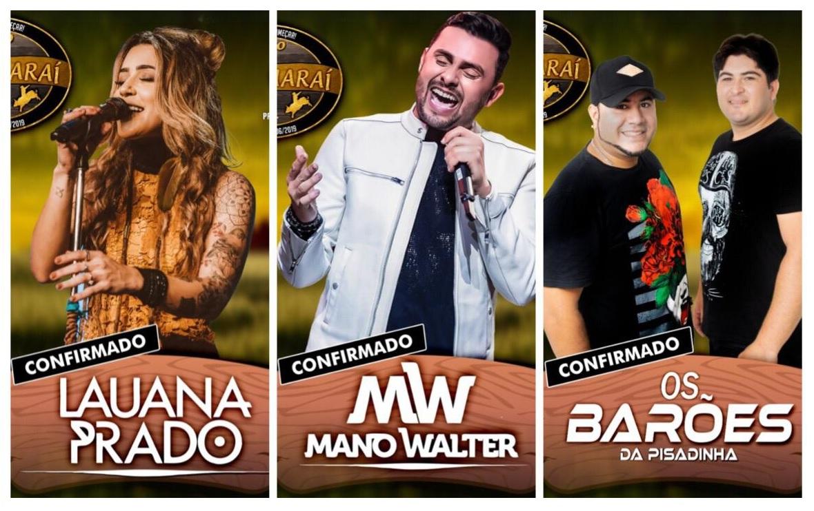 Lauana Prado, Mano Walter e Os Barões da Pisadinha são confirmados para a 30ª EXPOGUARAÍ